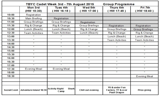 Cadet Week Group Programme 2015